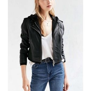 Hooded leather jacket from Urban Outfitters